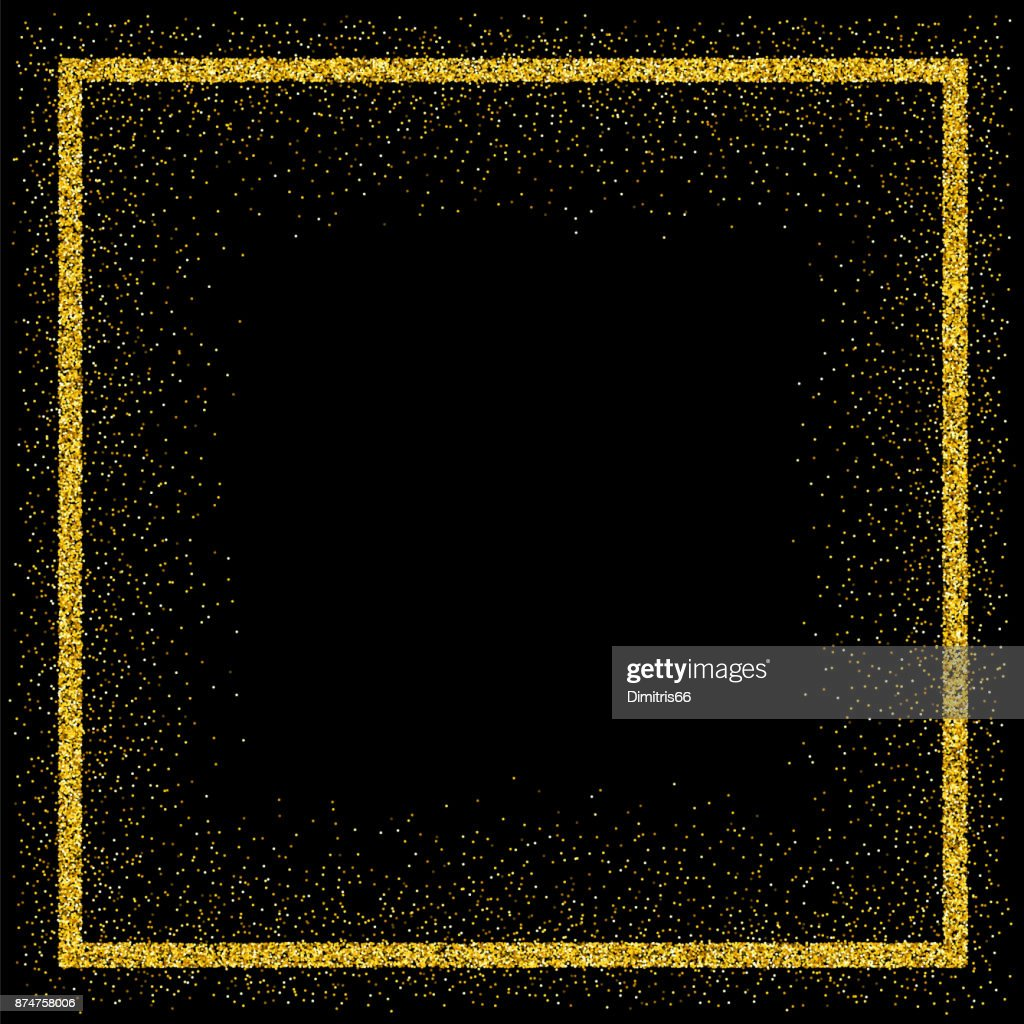 Golden vector glitter frame : stock illustration