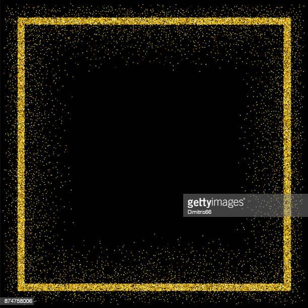 Golden vector glitter frame
