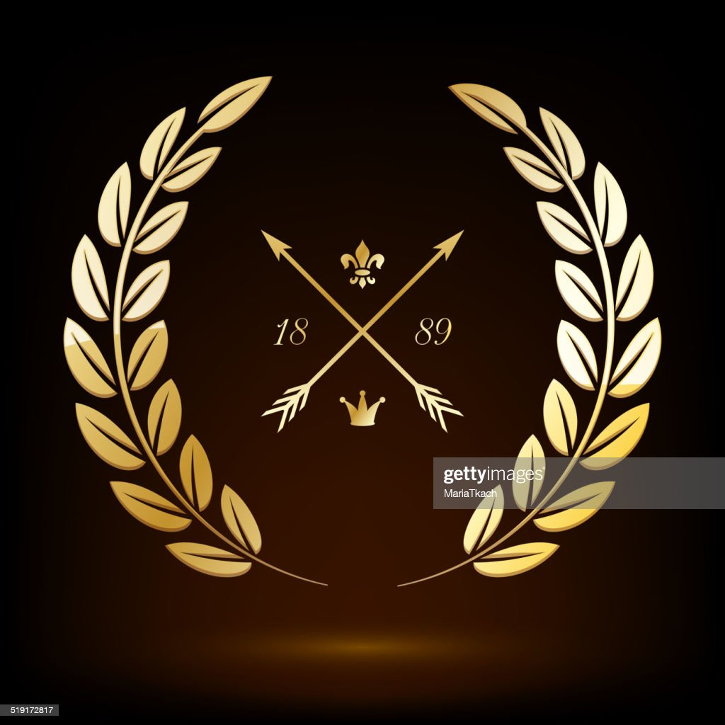 Golden vector laurel wreath with crossed arrows, lily and crown.