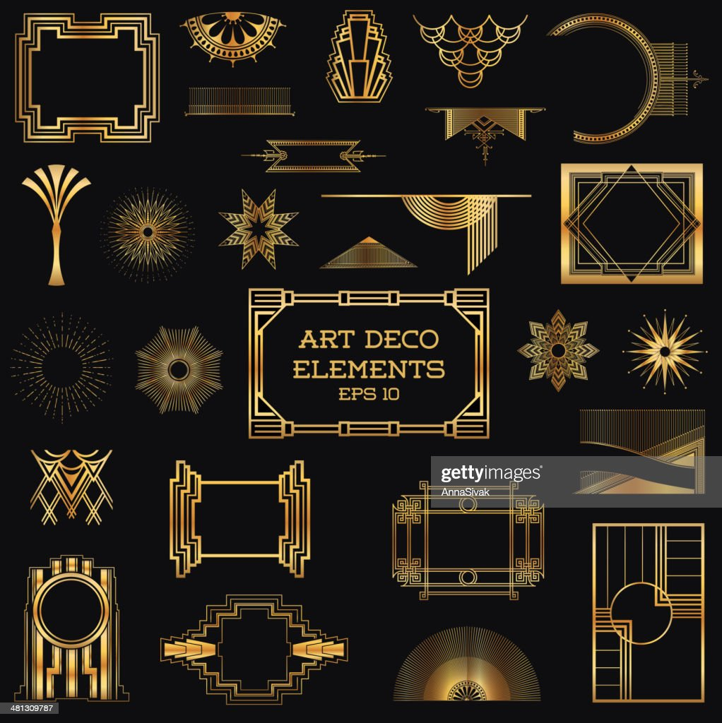 Golden vintage art deco elements