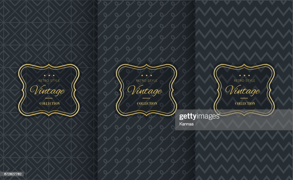 Golden vintage pattern on black background