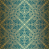 Golden vintage seamless decorative pattern