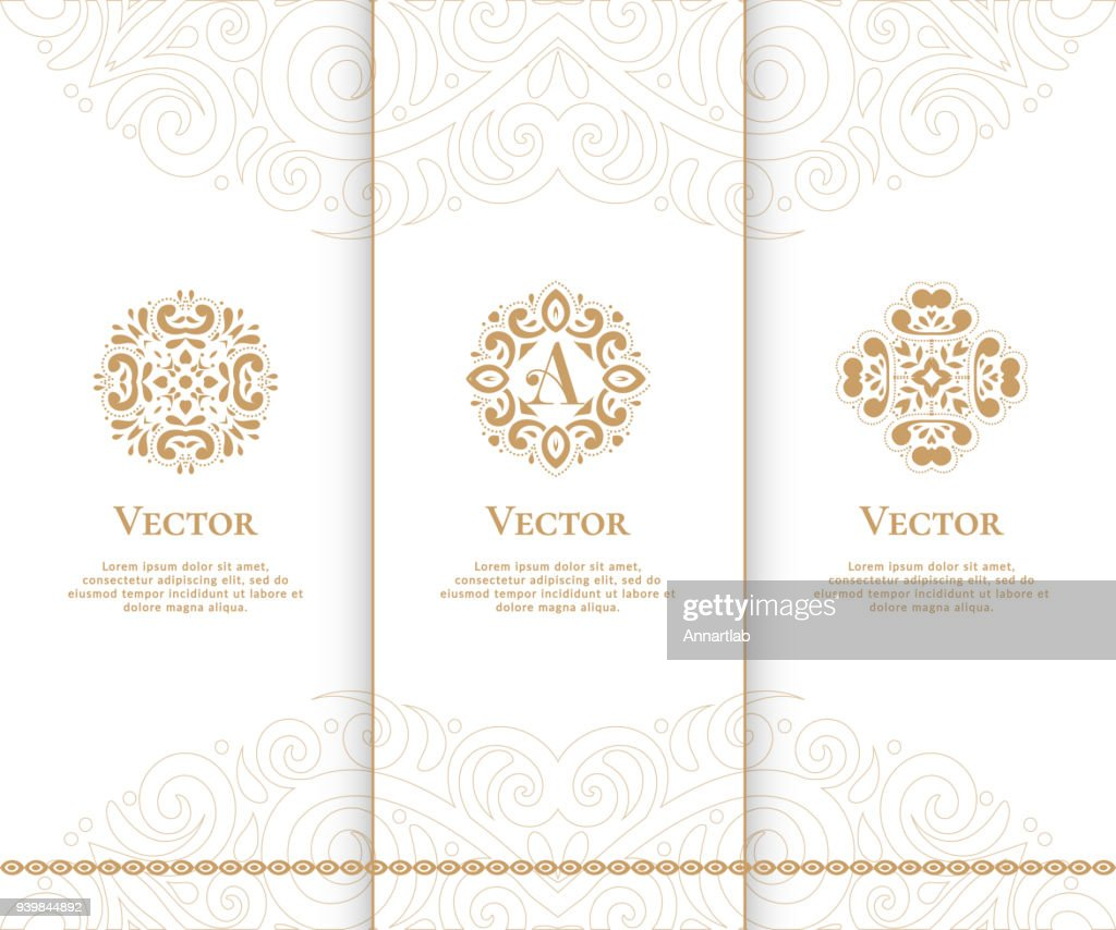 Golden Vintage Vector emblem. Beautiful ornament set. Can be used for jewelry, beauty and fashion industry.