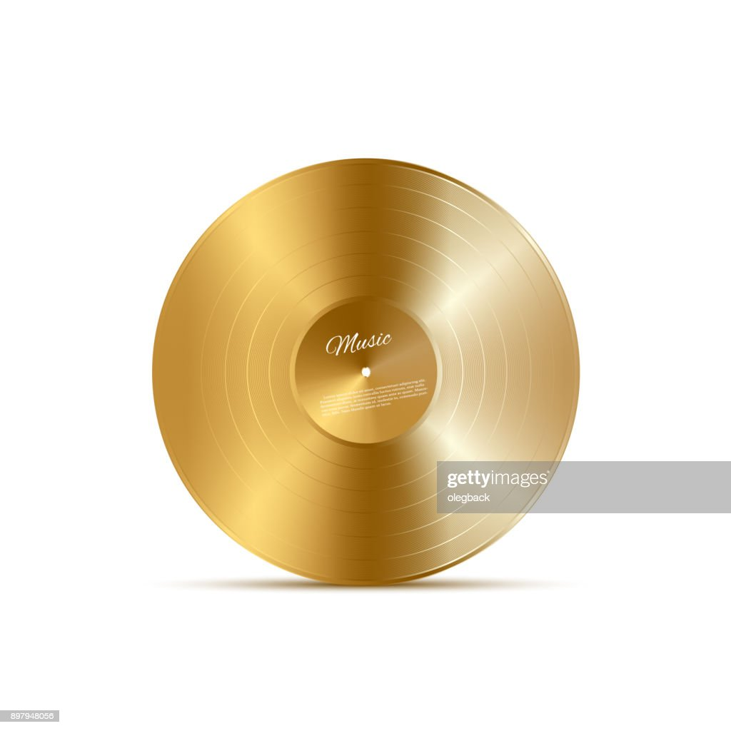 Golden vinyl disc. Vector music design element.