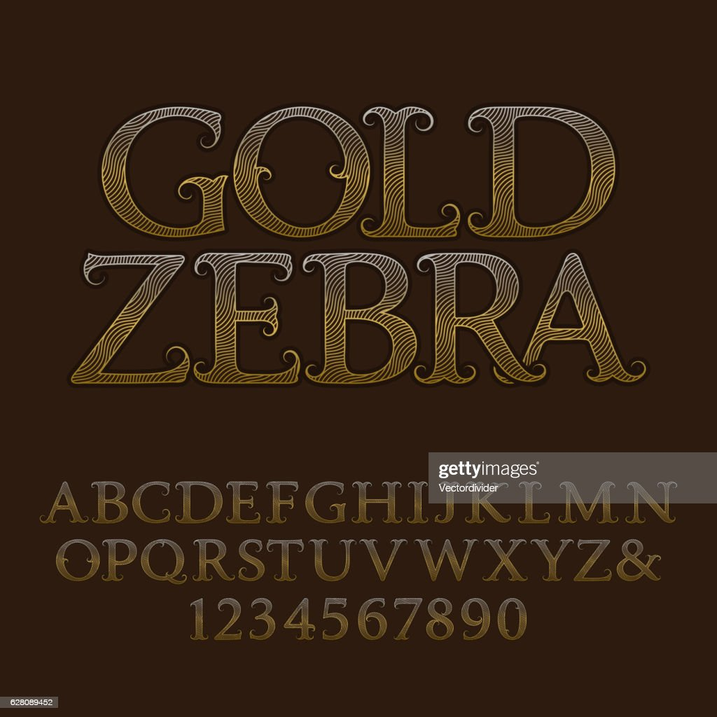 Golden wavy lines patterned font with text Gold Zebra.