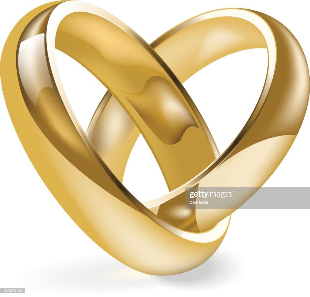 Goldene Hochzeit Ring Isoliert Auf Einem Weissen Hintergrund