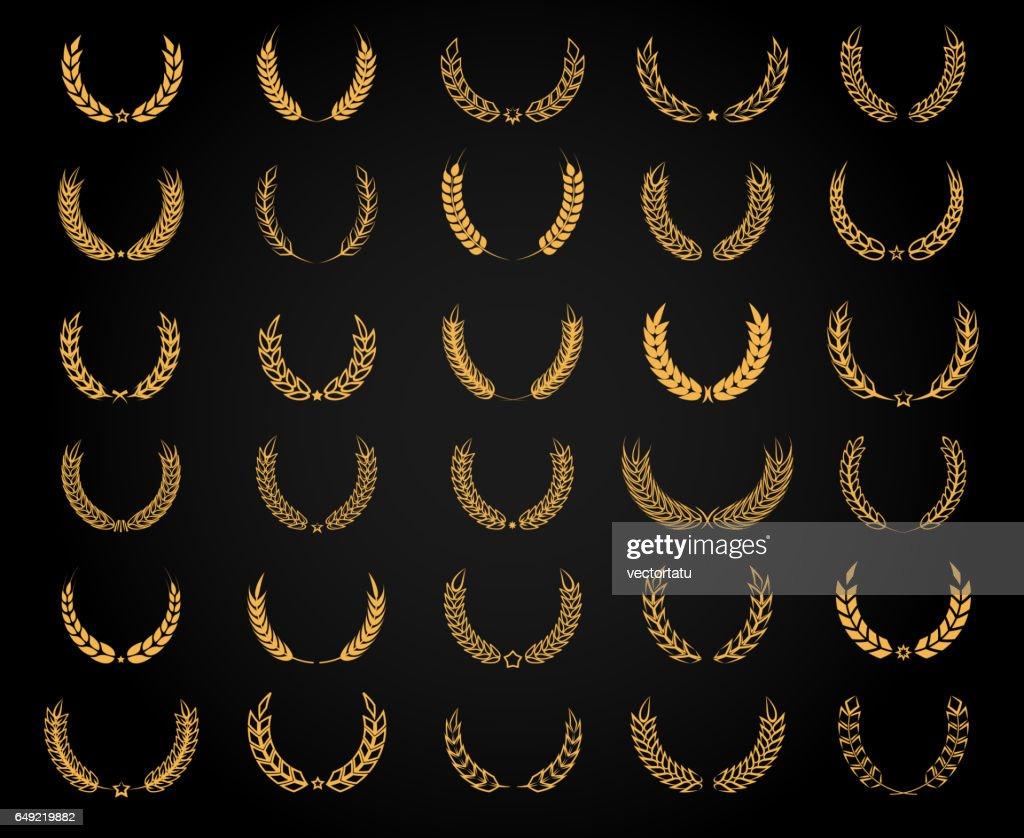 Golden wheat wreath set