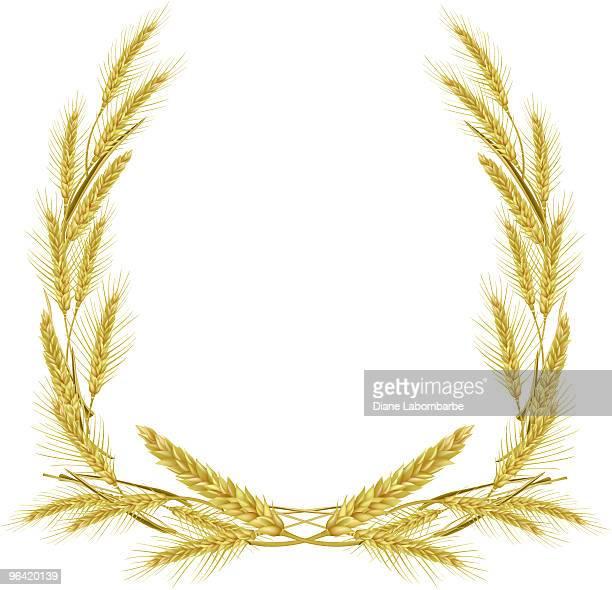ilustraciones, imágenes clip art, dibujos animados e iconos de stock de corona de trigo de oro - espiga de trigo