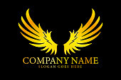Golden wings logo, vector, illustration, eps file
