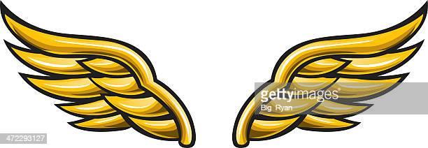 ilustraciones, imágenes clip art, dibujos animados e iconos de stock de alas doradas - alas de angel