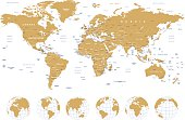 Golden World Map - borders, countries, cities and globes - illustration