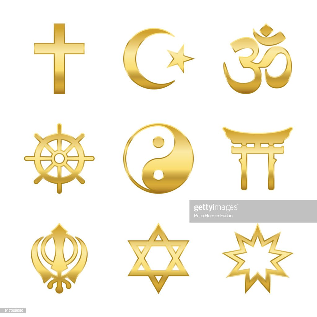 Golden world religion symbols. Signs of major religious groups and religions. Christianity, Islam, Hinduism, Buddhism, Taoism, Shinto, Sikhism and Judaism - isolated vector illustration.