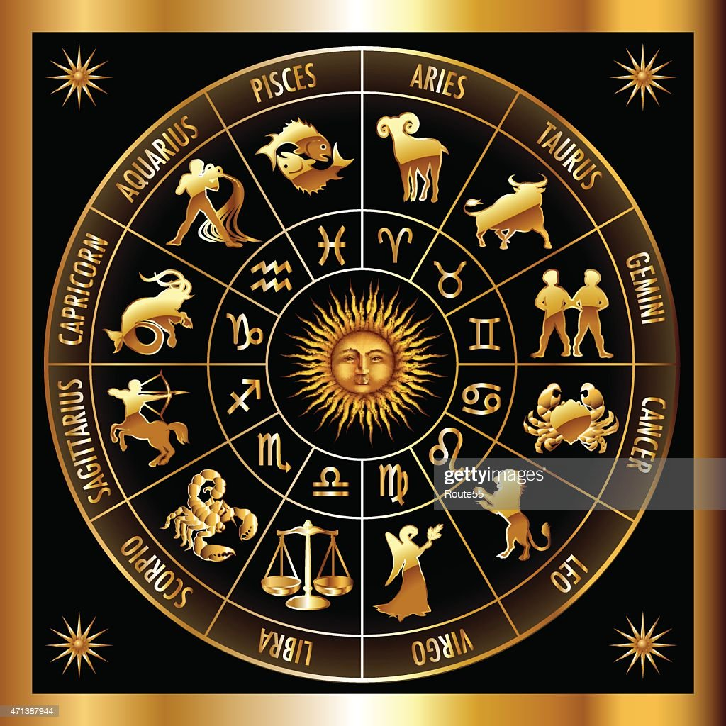 A golden zodiac circle on a black background