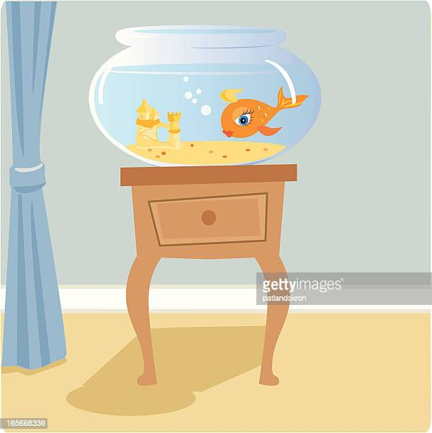 goldfish bowl - fishbowl stock illustrations, clip art, cartoons, & icons