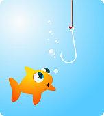 Goldfish fish looking at terrifying hook