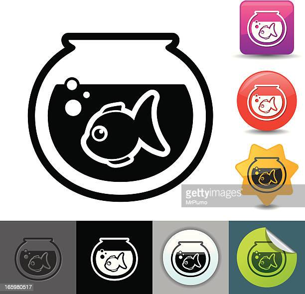 goldfish icon   solicosi series - fishbowl stock illustrations, clip art, cartoons, & icons