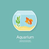 Goldfish in aquarium isolated. Flat vector illustration