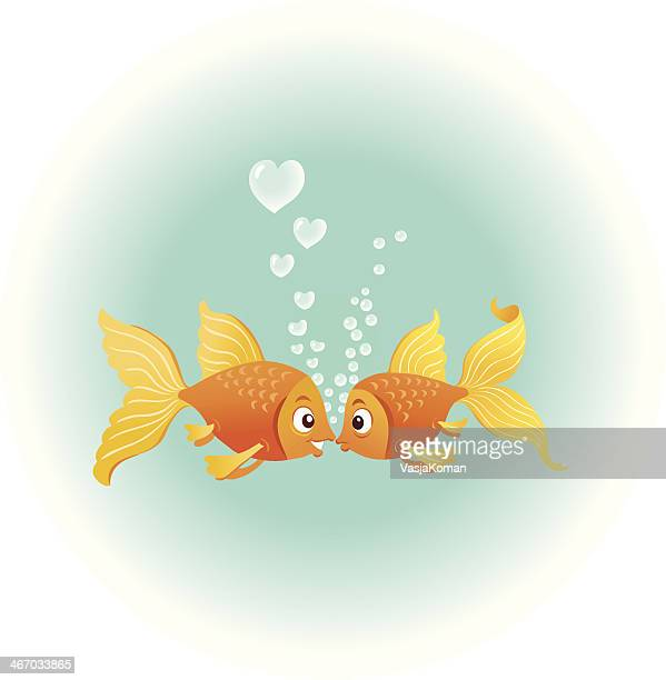 goldfish in love - love at first sight stock illustrations