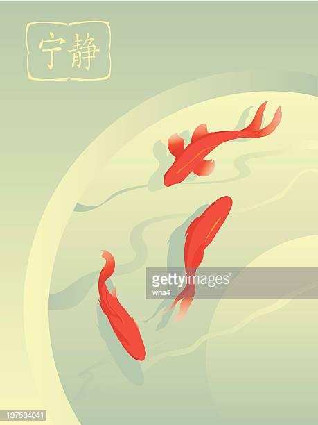 illustrations, cliparts, dessins animés et icônes de poisson rouge en étang - poisson rouge