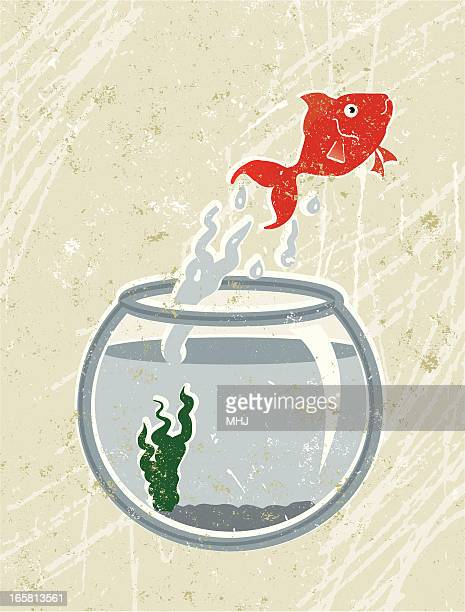 goldfish jumping out of bowl - fishbowl stock illustrations, clip art, cartoons, & icons