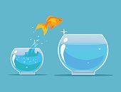Goldfish making leap. Vector flat cartoon illustration
