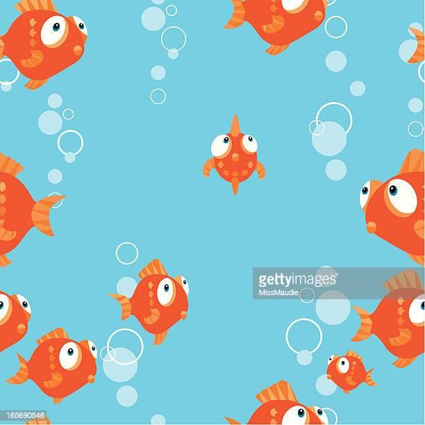 illustrations, cliparts, dessins animés et icônes de poisson rouge motif sans couture. - poisson rouge