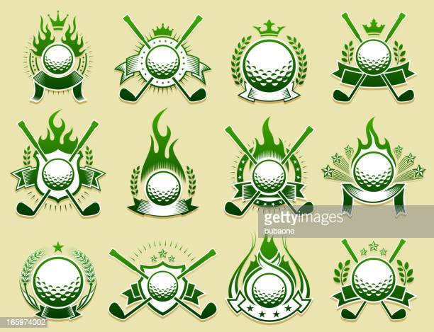 golf amateur country club on grunge badge set - great seal stock illustrations, clip art, cartoons, & icons