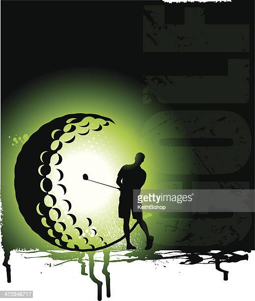 golf background - golfer - teeing off stock illustrations, clip art, cartoons, & icons