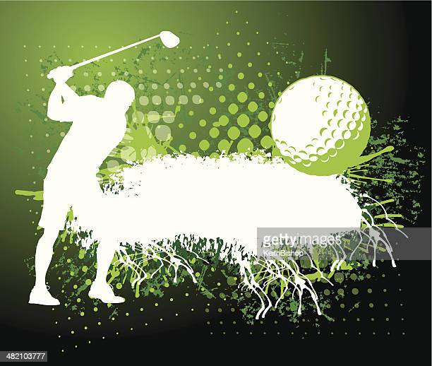 golf background - grunge style - teeing off stock illustrations, clip art, cartoons, & icons