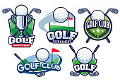 golf badge design set