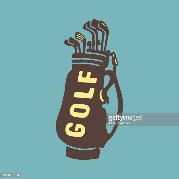 golf bag and clubs - golf club stock illustrations