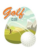 Golf Ball And A Beautiful landscape. Poster for sport.
