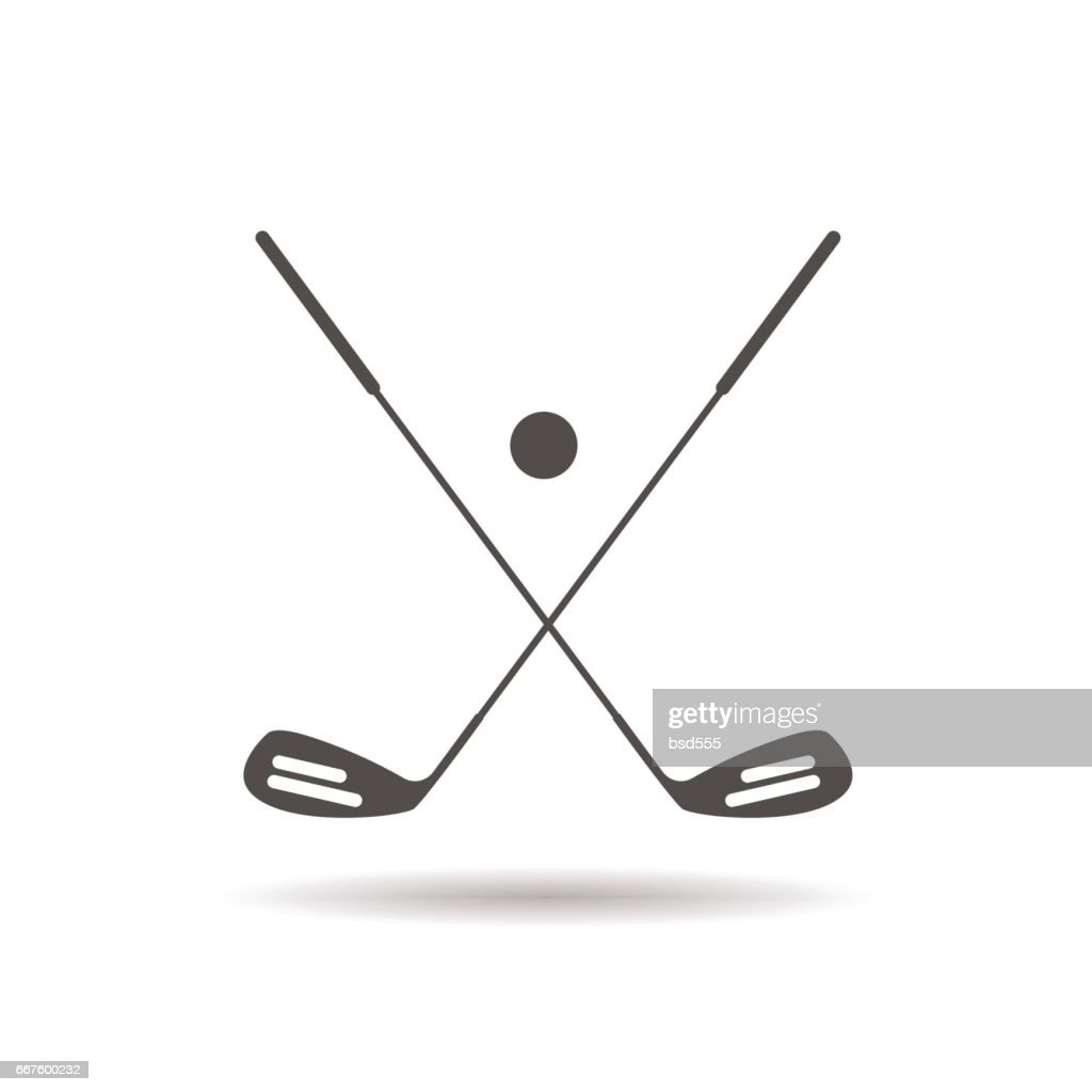 Golf ball and clubs icon