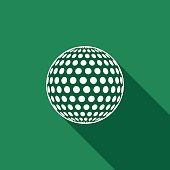 Golf ball flat icon with long shadow. Vector Illustration