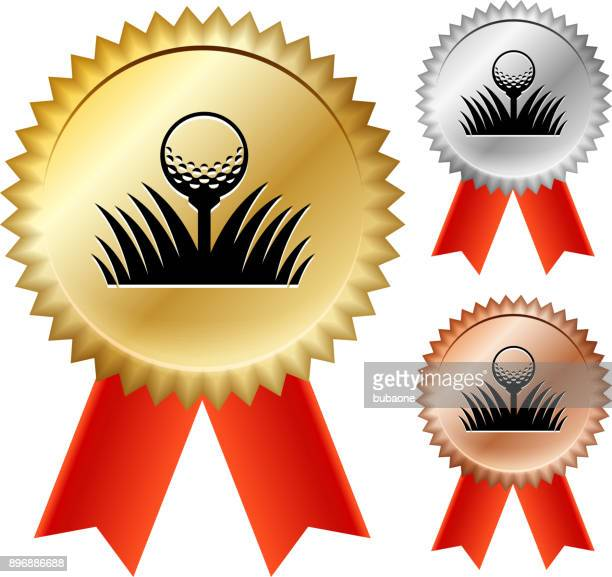 golf ball  gold medal prize ribbons - second place stock illustrations