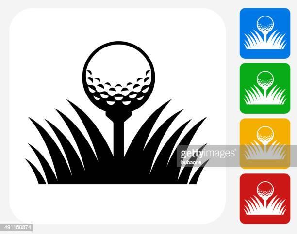 ilustrações, clipart, desenhos animados e ícones de bola de golfe plana ícone de design gráfico - tee