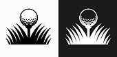 Golf Ball Icon on Black and White Vector Backgrounds