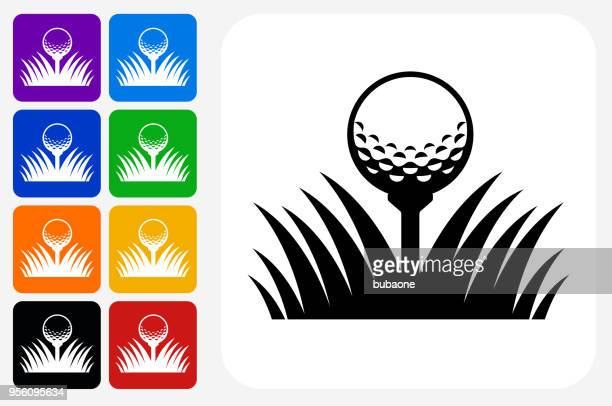 golf ball icon square button set - golf ball stock illustrations