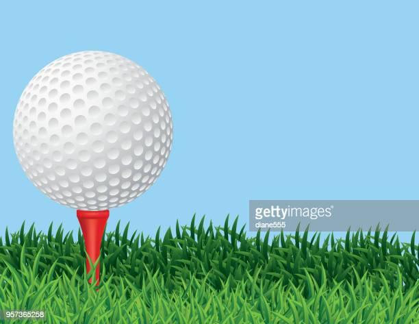 ilustrações de stock, clip art, desenhos animados e ícones de golf ball in the grass background - golf tournament