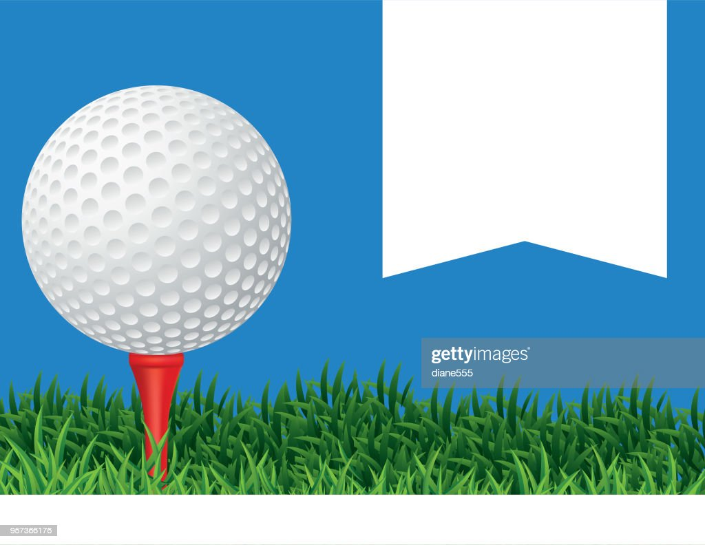 Golf Ball In The Grass Background : stock illustration