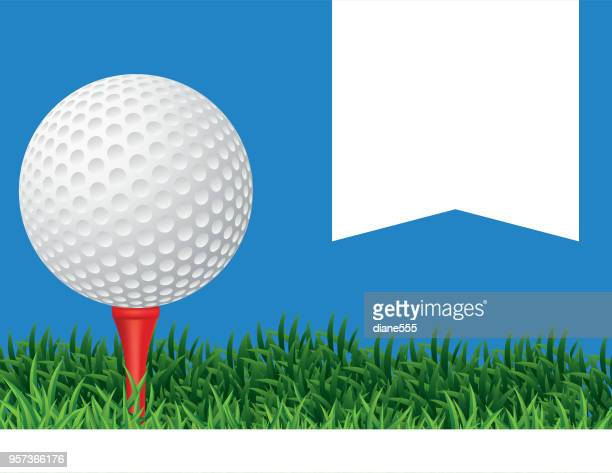 golf ball in the grass background - golf tournament stock illustrations, clip art, cartoons, & icons