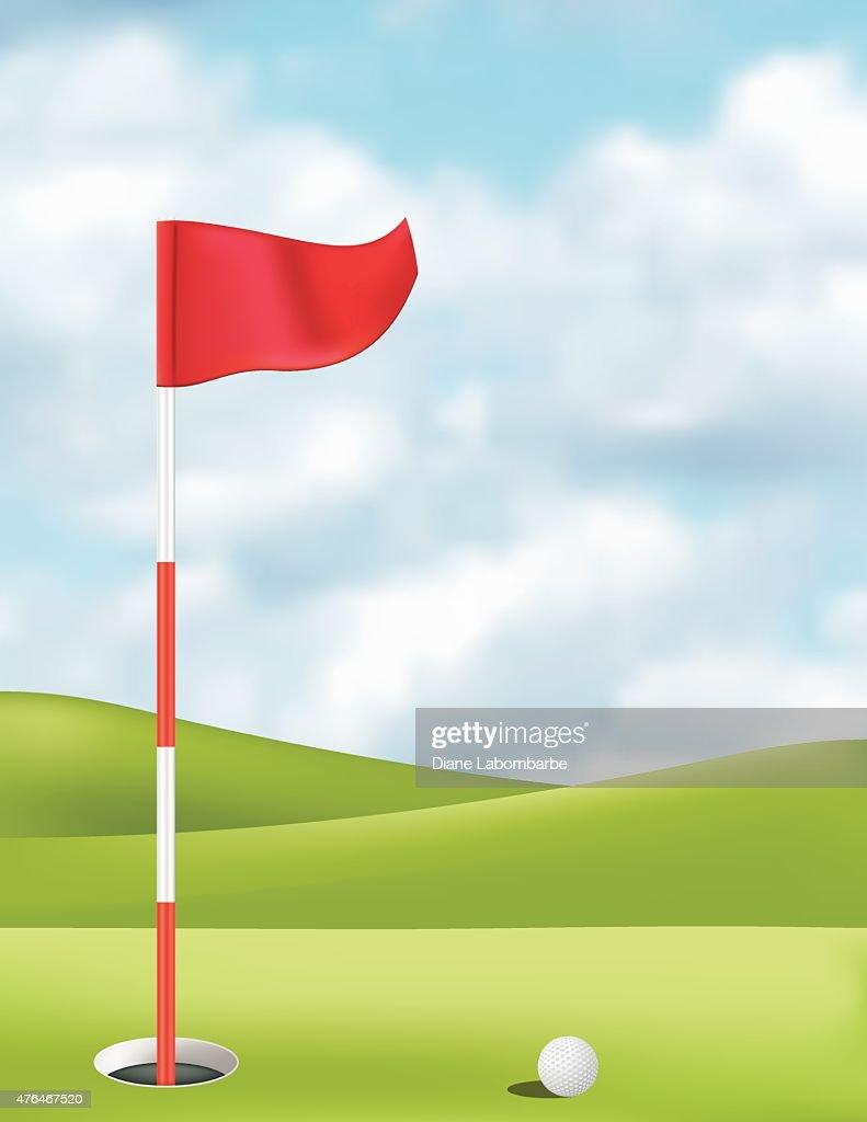 balle de golf sur le putting green avec drapeau clipart. Black Bedroom Furniture Sets. Home Design Ideas