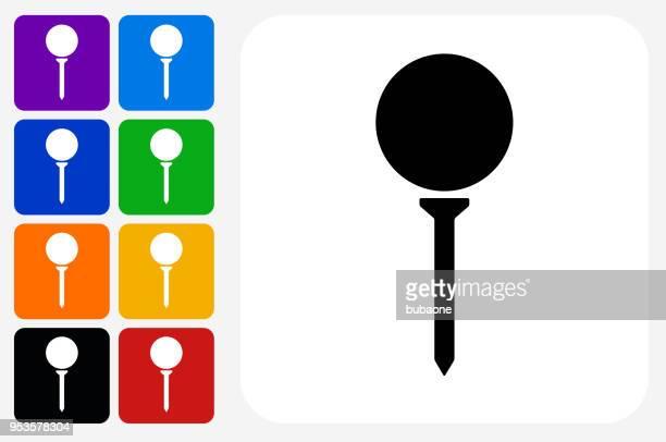 ilustrações, clipart, desenhos animados e ícones de bola de golfe no tee ícone quadrado botão set - tee