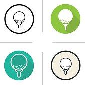 Golf ball on tee icons