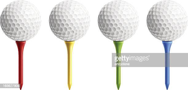 golf ball on tee - golf ball stock illustrations