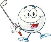 Golf Ball Swinging A Club
