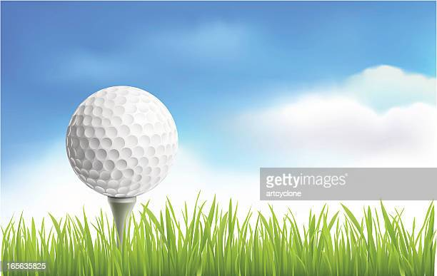 golf ball - green golf course stock illustrations, clip art, cartoons, & icons