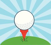 Golf Ball With Tee and Background