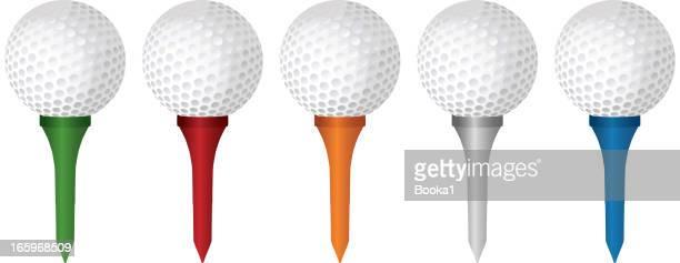 golfbälle und tees - golftee stock-grafiken, -clipart, -cartoons und -symbole