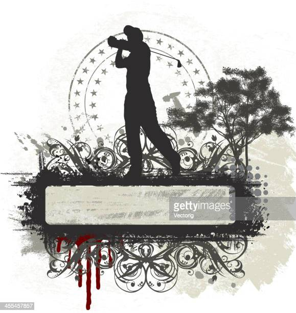 golf banner - golf swing stock illustrations, clip art, cartoons, & icons